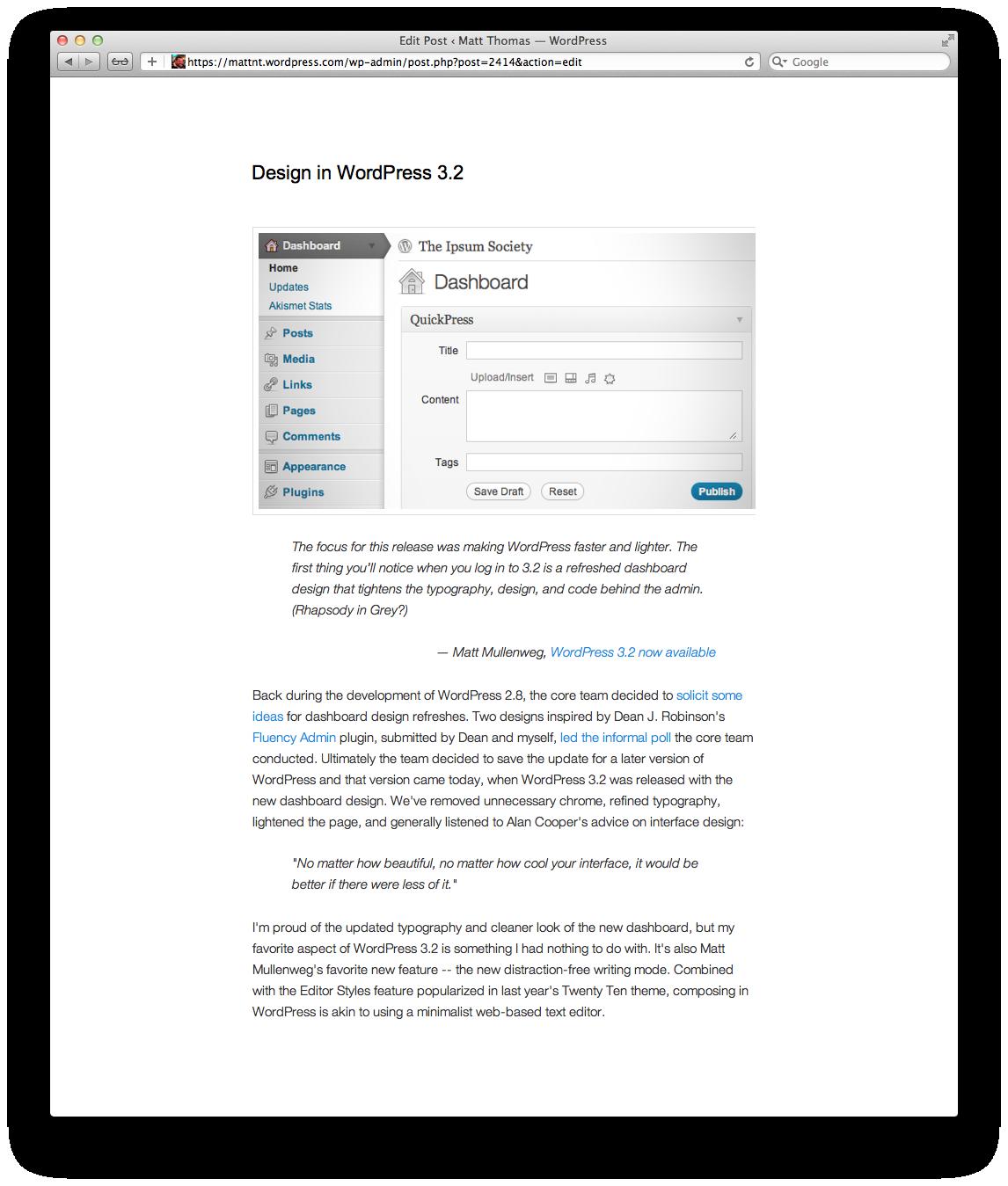 Design in WordPress 3.2 (2/2)