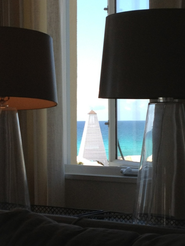 """Obe Tower as seen through the windows of """"Breathe In, Breathe Out"""""""