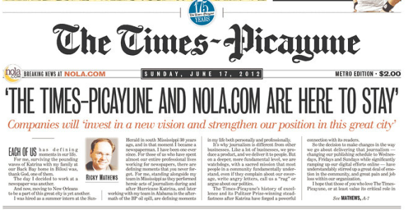 Times-Picayune front page